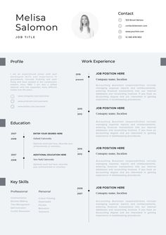 CV Template Professional Resume With Photo Word Instant Download Modern Cv