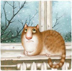 """Ai vetri della scuola stamattina l'inverno strofina la sua schiena nuvolosa come un vecchio gatto grigio: con la nebbia fa i giochi di prestigio, le case fa sparire e ricomparire, con le zampe di neve imbianca il suolo e per coda ha un ghiacciolo… Sì signora maestra mi sono un po' distratto: ma per forza, con quel gatto con l'inverno alla finestra che mi ruba i pensieri e se li porta in slitta per allegri sentieri"""".   (Gianni Rodari)   Illustrazione di Oksana Mosalova."""