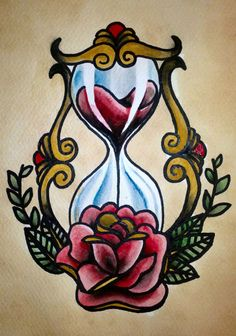Traditional tattoo 'Hourglass' by Psychoead.deviant… Traditional tattoo 'Hourglass' by Psychoead. Girly Tattoos, Trendy Tattoos, Flower Tattoos, Body Art Tattoos, Sleeve Tattoos, Tatoos, Drawings Of Tattoos, Disney Tattoos, Sanduhr Tattoo Old School
