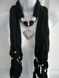 New Womens Jewlery Scarf Silver Pleated Heart Rhinestone Pendant