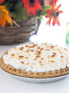 Sweet Potato Pie with Marshmallows and Spiced Cream  by EclecticRecipes.com #recipe