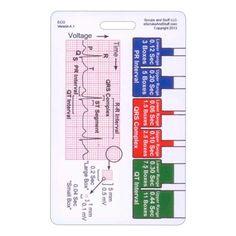 EKG ruler & diagram for basic ekg interpretation  - reference badge ID card