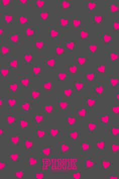 Pink hearts on grey background!