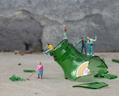 "New Miniature Scenes By Slinkachu    Andipa Gallery in London is showing the latest print release from ""little people"" artist Slinkachu. Crowds were asked to track down these installations and so they scoured the streets looking for Slinkachu's works in public places."