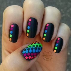 Colorful dot nails on black