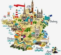 Educational infographic & data visualisation Map of France for French language course - Chiara Alduini. Infographic Description Map of France for French France Map, Ville France, France Travel, French Language Course, Travel Words, Travel Illustration, Thinking Day, Teaching French, Map Design
