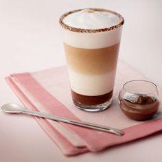 Beautiful and I bet this tastes great. Choco Coco Latte Macchiato By Nespresso. Nespresso Recipes, Cafe Nespresso, Espresso Drinks, Coffee Drinks, Chocolate Hazelnut, Chocolate Coffee, Dessert Drinks, Yummy Drinks, Desserts