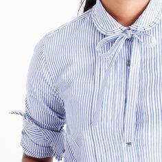 Striped tie-neck tuxedo shirt with ruffles