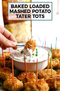 Dip these baked loaded mashed potato tater tots into my creamy loaded potato dipping sauce. The perfect healthier way to use leftover mashed potatoes! Loaded Mashed Potatoes, Mashed Potato Recipes, Loaded Potato, Cheesy Potatoes, Baked Potatoes, Tater Tot Bake, Tater Tots, Fall Appetizers, Cheese Appetizers
