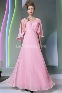 Glamorous Pink Chiffon V-neck A-Line Prom Dress with Flutter Sleeves