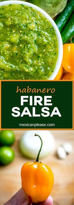 Habanero peppers create volcanic heat in this lively green Fire Salsa. It's the… - Hot Sauce Habanero Recipes, Hot Sauce Recipes, Spicy Recipes, Canning Recipes, Mexican Food Recipes, Appetizer Recipes, Healthy Recipes, Habanero Salsa Recipe, Appetizers