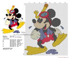 Disney Topolino con le pinne e gli occhiali schema da ricamare