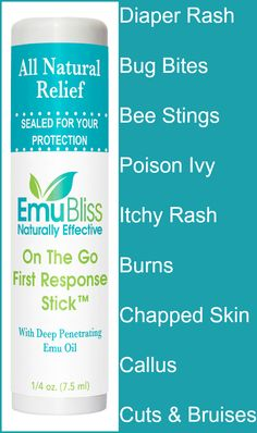 This soothing balm is the size of a lip stick, yet helps so many things: diaper rash, bug bites, bee stings, poison ivy, itchy rash, burns, chapped skin, callus, cuts & bruises. Great for a travel first aid kit, survival kit, purse, back pack, car, boat, garage, camping gear and of course, your home medicine cabinet. Nothing but natural and organic ingredients in Emu Bliss On the Go First Response Stick. Be ready for anything: pick up a few now.