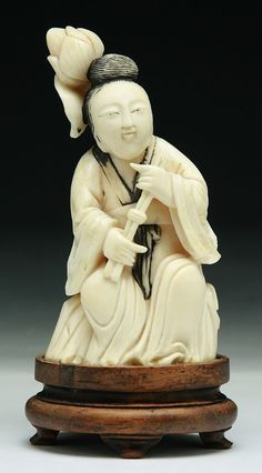 """A Chinese Antique Ivory Carved Figure: presented on custom wood stand, of late 18th or early 19th Century  Dimensions: H: 4-3/4"""""""