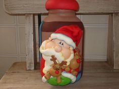 Frasco decorado con santa navideño en arcilla polimérica / polymer clay