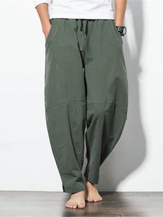 ChArmkpR Mens Casual Baggy Cotton Harem Pants Solid Color Loose Wide Leg Pants is warm, see other men pants on NewChic. Baggy Pants, Wide Leg Pants, Men Pants, Henley Shirts, Cotton Harem Pants, Style Ethnique, Pantalon Cargo, Themed Outfits, Long Sleeve Henley