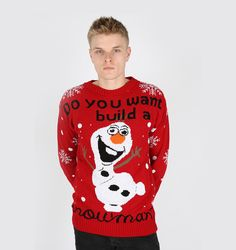Tacky Olaf Christmas Sweater Knitted In Red!