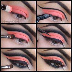 Pink and black eyeshadow idea