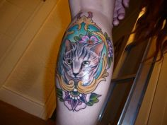 """Tattoo - someone's pet cat """"Chicken Liver,"""" by Davey Robertson, Cruithni, Hull"""