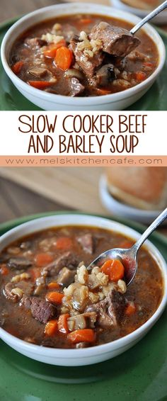 This slow cooker beef and barley soup is comfort food at it's best. This slow cooker beef and barley soup is comfort food at it's best. Crock Pot Soup, Crock Pot Slow Cooker, Slow Cooker Recipes, Crockpot Recipes, Soup Recipes, Cooking Recipes, Healthy Recipes, Slow Cooking, Slow Food
