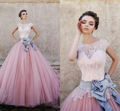 Gorgeous Princess Quinceanera Dresses 2015 Sexy Sheer Crew Neck Lace Applique Beads with Bow Sash Sweep Train Tulle Formal Evening Gowns