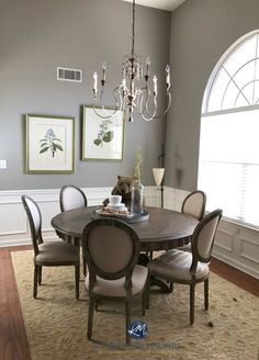 Dining Room Paint Colors, Room Wall Colors, Dining Room Walls, Living Room Paint, Living Room Grey, Dining Room Design, Wall Paint Colours, Grey Dining Room Paint, Dado Rail Living Room