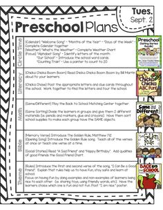 Peek At My Week * Back to Pre-School - Planning a preschool activities