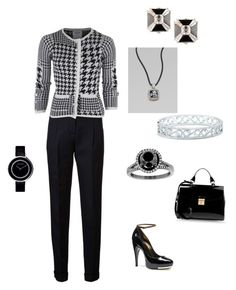 """""""Black & White everyday outfit"""" by hshprincessgebevieve ❤ liked on Polyvore featuring Balmain, Thom Browne, Lanvin, Marc Jacobs, Forevermark, Tiffany & Co., Georg Jensen and David Yurman"""