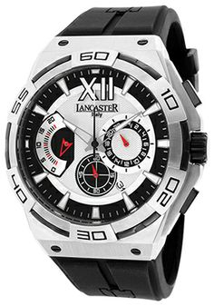 Men's Acquascope Chronograph Silver Tone Textured Dial Black Silicone $189