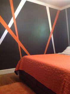 Grey, orange, white my new teenage boy bedroom decor                                                                                                                                                      More