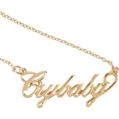 Melanie Martinez Crybaby Nameplate Necklace Hot Topic (15 AUD) ❤ liked on Polyvore featuring jewelry, necklaces, gold tone chain necklace, gold tone jewelry, gold tone necklace, chains jewelry and chain necklaces
