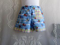Unisex Shorts  size 3T  Fish Print Shorts Plaid