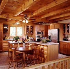 Log Home Interiors - Eagles Nest Log Homes