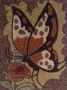 Busy bees in pebble background - Modern Seed Bead Art, Stippling Art, Mosaic Artwork, Plastic Art, Cool Art Projects, Dot Art Painting, Unusual Art, Button Art, Pebble Art