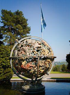 Woodrow Wilson Memorial Sphere of the United Nations in Geneva.
