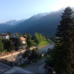 The view from my hotel balcony in Bormio