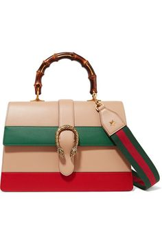 Sand, claret and forest-green leather (Calf) Push clasp-fastening front flap This style is made with natural bamboo and as such may have small indentations Weighs approximately 4lbs/ 1.8kg Made in Italy