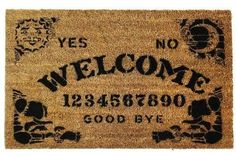 Ouija board door mat...this is potentially too creepy but SO COOL