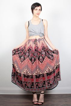 Vintage Indian Skirt 1990s Boho Midi Skirt Maxi Skirt Ethnic Print Rayon Gauze Skirt 90s Skirt Bohemian Gauzy Hippie Skirt M L Large XL by ShopTwitchVintage #vintage #etsy #90s #1990s #skirt #midi #maxi #gauze #rayon #hippie #boho #bohemian #indian #india