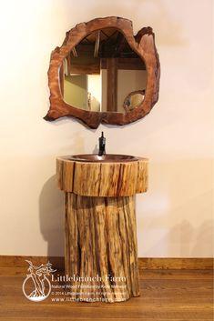 Tree stump vanity