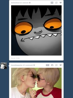 Homestuck That moment when Dirk and Dave are kissing and Karkat is awkwardly watching.