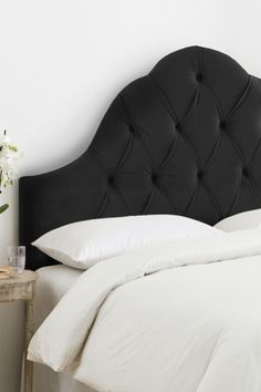 High Arch Tufted Headboard - Velvet Black