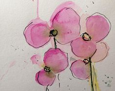 ORIGINAL AQUARELL Aquarellmalerei Bild Kunst Orchideen Blumen Watercolour Flowers Tusche