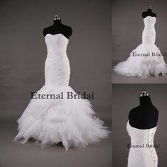 Vestidos De Noiva Mermaid Court Train Tiered Organza Elegant Sweetheart Long Floor-Length Ruffles Sexy Open Back Wedding Dresses $189.75