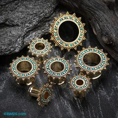 A Pair of Golden Bali Turquoise Nior Casted Double Flared Eyelet Plug