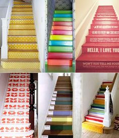 Just because it is small and quite narrow, does not mean your stairs and landing do not deserve a beauty treatment. Every small part you do to your home can affect the whole interior design. Painted Stairs, Painted Floors, Funky Home Decor, Diy Home Decor, Feng Shui, Diy Interior, Interior Design, Interior Architecture, Escalier Design