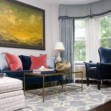 Navy Blue Couch Decorating Ideas for Impressive Living Room Interior Design : Captivating Living Room Design For Small Space With Curved Bay Window And Contemporary Wall Picture Along With Navy Blue Sofa Blue Sofa Living, Couches Living Room, Interior Design Living Room, Eclectic Living Room, Blue Couch Living Room, Blue Living Room, Living Room Interior, Sofa Decor, Blue Velvet Sofa
