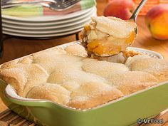 Cookie Peach Cobbler - uses refrigerated sugar cookie roll and fresh peaches!