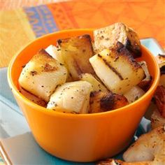 Grilled Potatoes Recipe -Need a simple sidekick to serve with steaks or chops? Try these potatoes, which are bursting with fresh flavor. I make this recipe for picnics and potlucks. The potatoes turn out tender and well-seasoned. Plus, there's one less pot to wash! —Jena Coffey, Rock Hill, Missouri