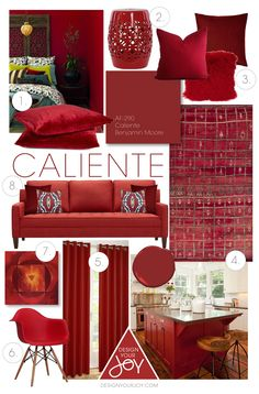 Caliente by Benjamin Moore was just announced to be the colour of 2018...here is a Colour Styleboard to showcase this hot red and show you how to use it as accents in other rooms of your home.